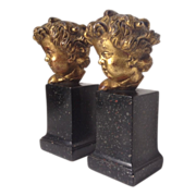 REDUCED Rare Vintage BORGHESE Putti Cherub Gold Gilded Bookends