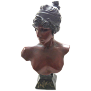 REDUCED Superb Large Antique Art Nouveau Bust Of TANAGRA by E. Villanis C. 1880-1900