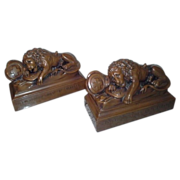 SOLD Magnificent Rare Vintage Set of Lion of Lucerne Bronze Bookends With Original N.Y. Lables