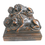 REDUCED Exquisite Antique Art Nouveau Era Hand Carved Lion of Lucerne Statues / Bookends C. ..