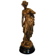 REDUCED Magnificent Antique French Neoclassical Gold Gilded Roman or Greek Goddess Statue C.18