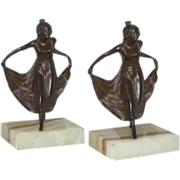 SOLD Excellent Collectors Set of Antique Art Nouveau Bronzed Curtsying Maiden Bookends C. 1880
