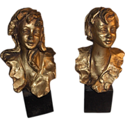 """REDUCED Wonderful Exquisite Vintage Set of Italian Sculptures Boy and Girl Signed """"Paolet"""