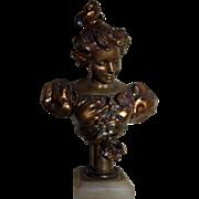 REDUCED Superb Antique French Art Nouveau Parisian Lady Bust on White Onyx Base C. 1890-1900