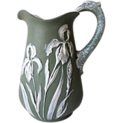 REDUCED Superb Antique Art Nouveau Judgendstil Bisque Iris Floral Pitcher C. 1890 - 1920