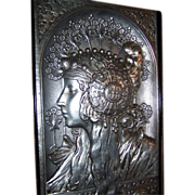 SOLD Exquisite Large French Art Nouveau Plaque of The Blonde After Alphonse Mucha C. 1900