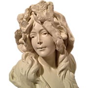 REDUCED Superb Art Nouveau French Bust of L'HIVER C. 1880-1900