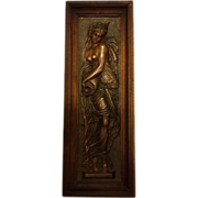 SOLD Exquisite Elegant Antique French Bronzed Maiden Wall Plaque by F. Barbedienne C 1890-1900