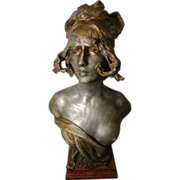 "REDUCED Large Beautiful Art Nouveau Period Bust of Maiden Entitled ""SILVIA"" by Anton"