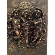 SOLD Beautiful Antique Architectural High Relief Plaque of Cherubs or Puitti C. 1880-1900