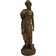 REDUCED Beautiful Antique French Classical Statue of Aphrodite With Original Gold Gild Finish