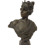 REDUCED Beautiful Large Antique Bronzed Bust of LUCRECE After E. Villanis C. 1900