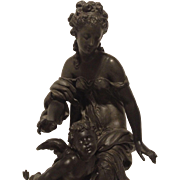 REDUCED Fine Antique Victorian - Art Nouveau Sculpture of Venus and Cupid in Rare Study by Mat