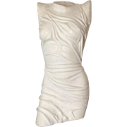 REDUCED Exquisite White Alabaster or Marble Sculpture in Classical Semi-Nude Torso Female Form