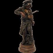"""REDUCED Exquisite Antique French Victorian / Art Nouveau Era Heavily Bronzed Sculpture """"L"""