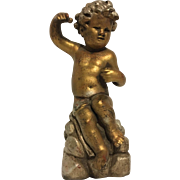 REDUCED Delightful Vintage Seated Cherub or Putti Statue
