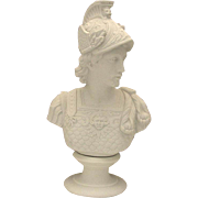 REDUCED Large Fine Vintage Parian Bisque Bust of Classical Warrior by Westwood