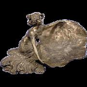 REDUCED Exquisite Rare Antique Judgendstil Art Nouveau Maiden Calling Card Tray by Royal Zinn