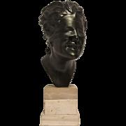 REDUCED Very Nice Vintage Italian Metal Bust of Blind Hero on Triple Tiered Marble or Stone Pl