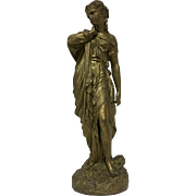 REDUCED Antique French Victorian - Art Nouveau Cast Metal Statue of Greek Goddess Venus C. 185