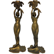 REDUCED Antique French Art Nouveau Water Nymph Candlestick Holders C. 1890-1910