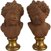 REDUCED Superb Vintage French Terracotta Putti Busts on Gold Gilt Bases in the Theme of Baccha