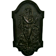 SOLD Beautiful Antique French Bronzed Plaque of Hercules Defeating King Diomedes in Classical