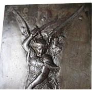 REDUCED Wonderful Antique Victorian Plaque of Archangel Michael Slaying Satan C. 1860-1900