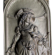 REDUCED Superb Antique Plaque of Renaissance Woman by Gustav Grohe Signed C. 1850-1900