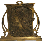 REDUCED Exquisite Antique Bronzed French Art Nouveau Maiden Bookrack Mucha Style C. 1900-1910