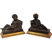 REDUCED Exquisite Set of Vintage French Terracotta Putti or Putto Statues on Gold Gilded Bases