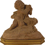 REDUCED Superb vintage French terracotta statue of a young Bacchus or Dionysus on a gold gilde