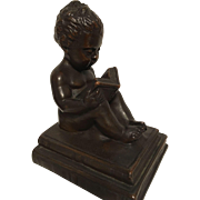 REDUCED Exquisite Rare Antique Art Nouveau Era Bronze Statues of Child Reading On Books by Kat