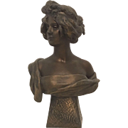 REDUCED Exquisite Large Antique French Art Nouveau Patinated Metal Bust of a Lady of the ...