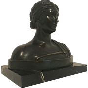 REDUCED Exquisite Bronze Bust of Classical Greek or Roman Goddess C, 1890-1910