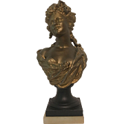 REDUCED Exquisite Large Victorian Era Gilded Portrait Bust of Marie Antoinette C. 1860-1900