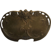 REDUCED Gorgeous Gilded Bronze Over Brass Art Nouveau Water Nymph Calling Card or Trinket Tray