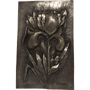 """REDUCED Superb Extremely Rare Antique French Art Nouveau Pewter Iris Plaque. Signed """"A. ..."""