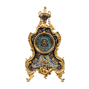 French Ormolu Bronze & Champlevé Enamel 8day Regulator Clock