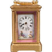 A Late 19th century French Porcelain Mounted Miniature Carriage Timepiece.