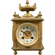 Gilt Bronze Eight-day, Four Face Clock, Temp & Barometer