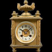 Gilt Bronze Eight-day, Four Face Clock, Temp & Barometer