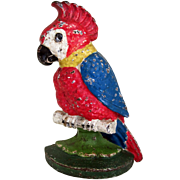 """Old 1930's Cast Iron Doorstop """"Polly Parrot """""""