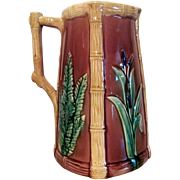 """1880's Large English Majolica Pitcher """"Fern & Cattails"""""""