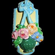 """Hubley # 287 Cast Iron Door Knocker """"Flower Basket"""""""