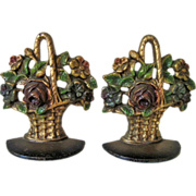 1930's Cast Iron Flower Basket Bookends Creation Company