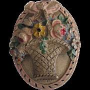 Vintage Hubley Cast Iron Flower Basket Doorknocker All Original