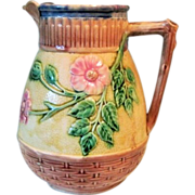Circa 1860 Large American Etruscan Majolica Pitcher Wild Rose Butterfly Lip Pitcher