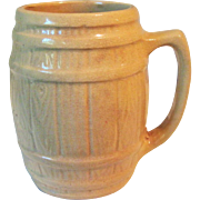 Circa 1900 Yellow Ware Barrel Stave Design Mug