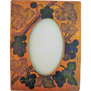Vintage Early 1900's Pyrography Picture Frame Black Grapes